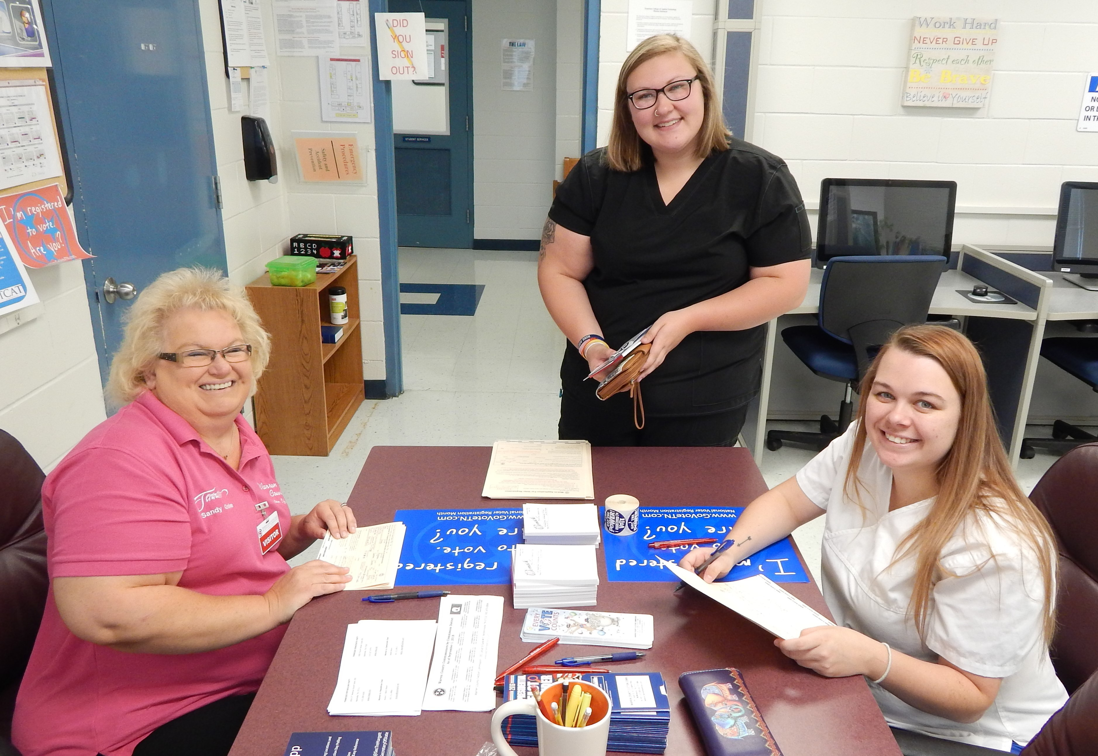 Sandy Goble, Warren County Election Commission; Celsey Tate and Ashley McKinley, Practical Nursing
